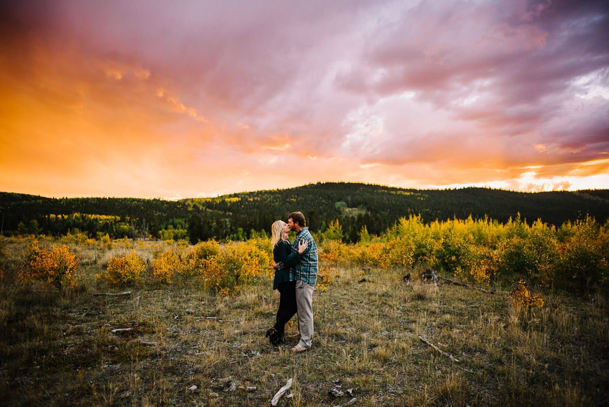 Sunset engagement photos in kenosha pass