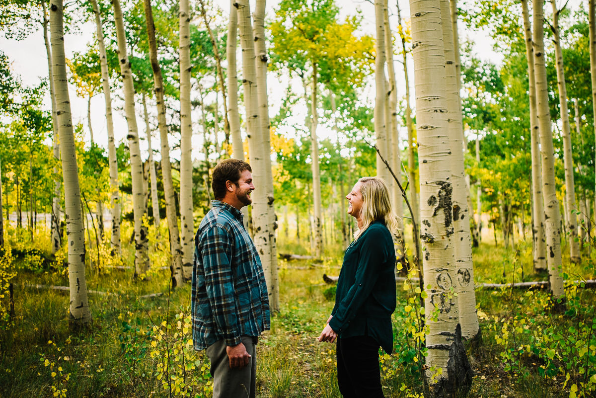 Engaged couple pose for photos in Kenosha Pass
