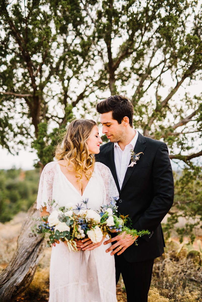 Vintage bride and groom in Sedona Arizona