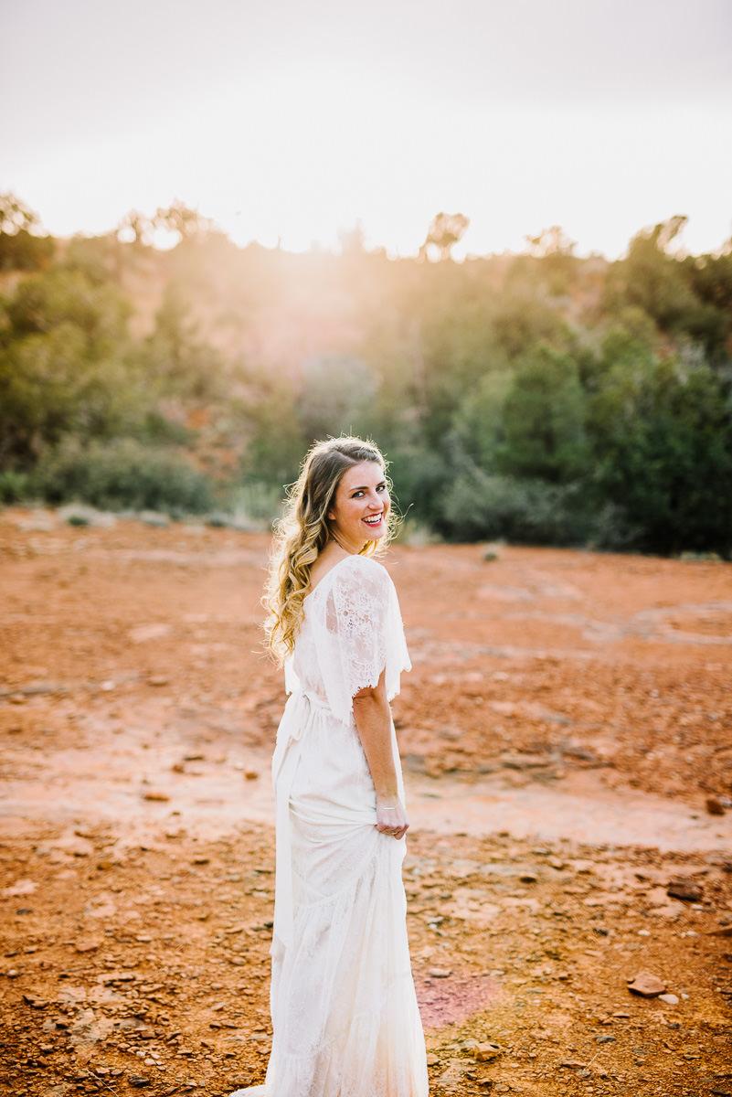 sedona boho bridal portrait