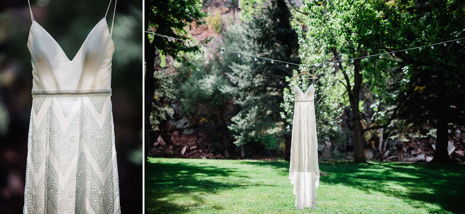 wedding dress at the river bend venue in Lyons, Colorado
