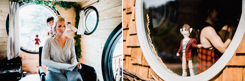 bridesmaid getting ready in hobbit themed tiny home at WeeCasa in Lyons, Colorado