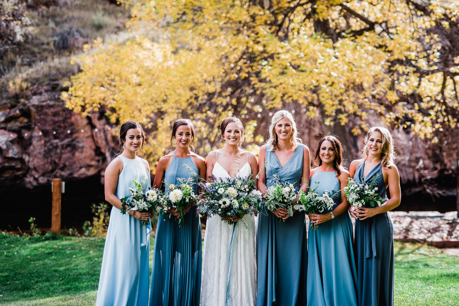 bridal party portrait at Lyons River Bend in Colorado