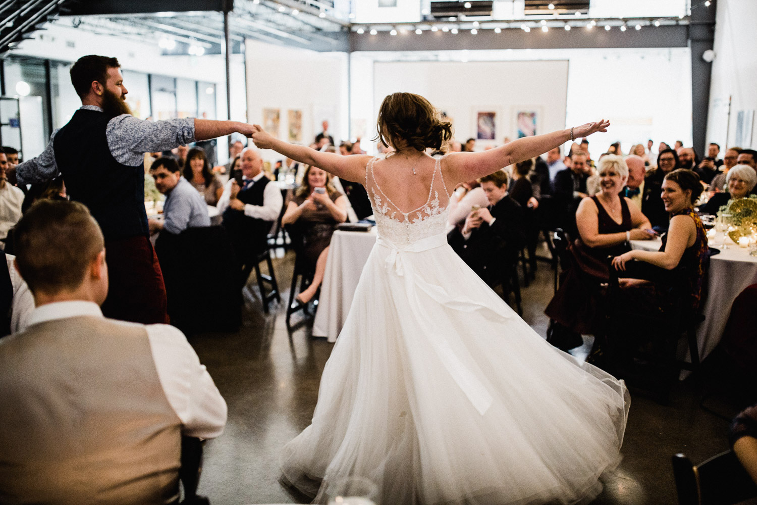 bride and groom first dance at space gallery in denver