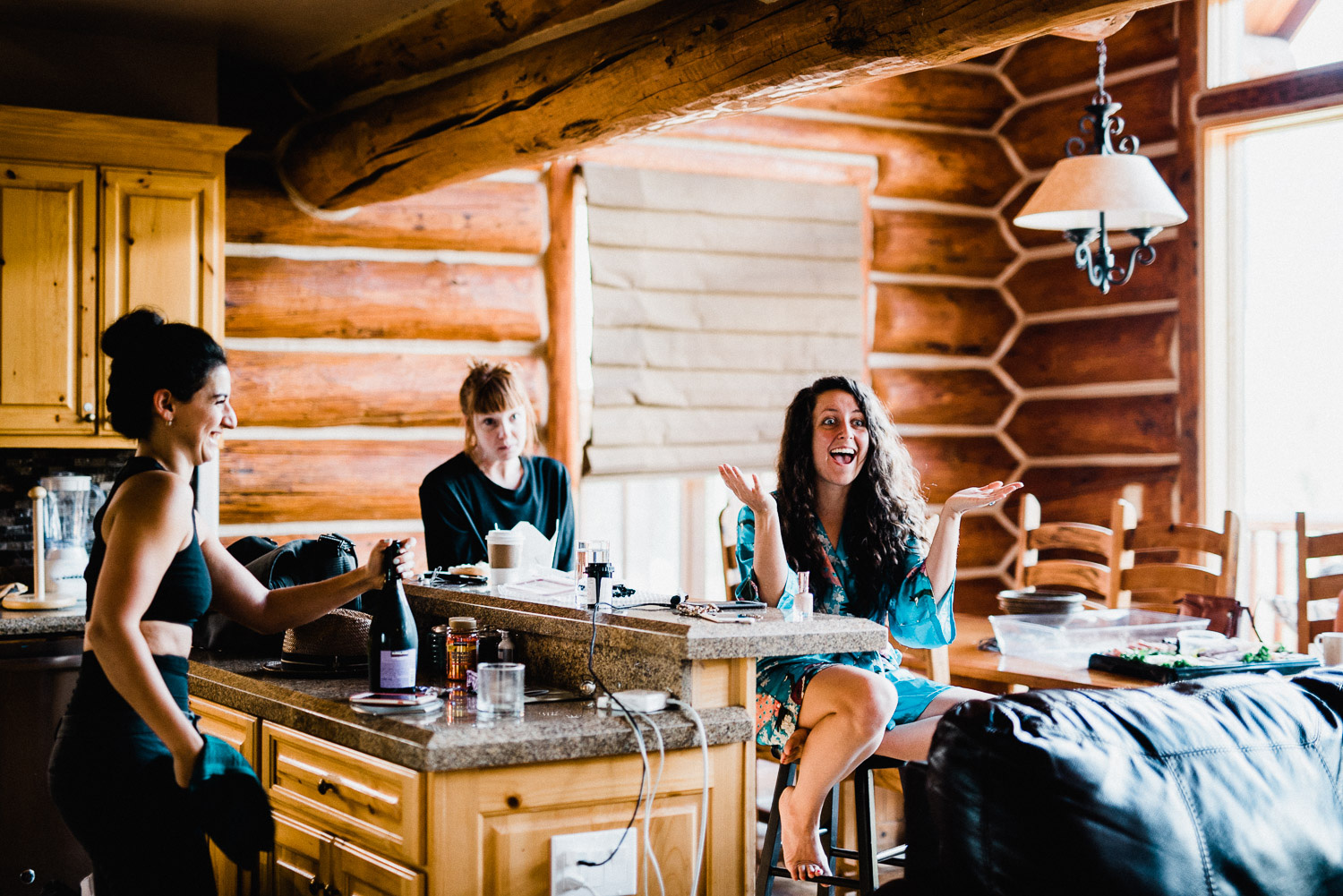 Bride getting ready for wedding in Telluride Colorado at the Mountain Lodge Resort.