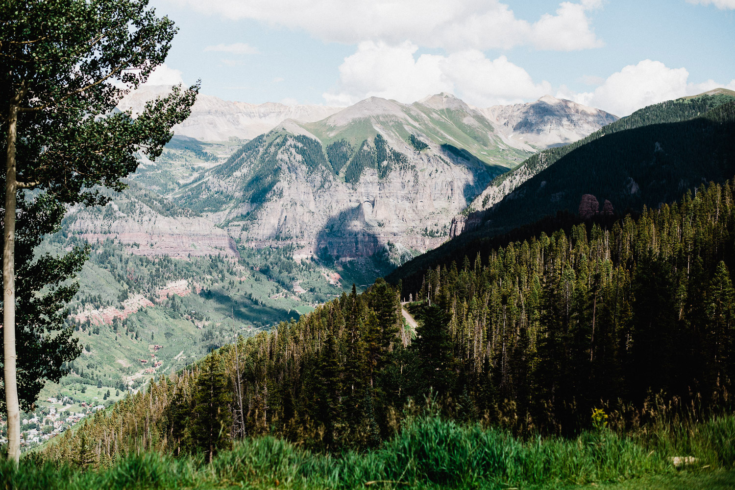 View of Telluride, Colorado from the San Sophia Overlook
