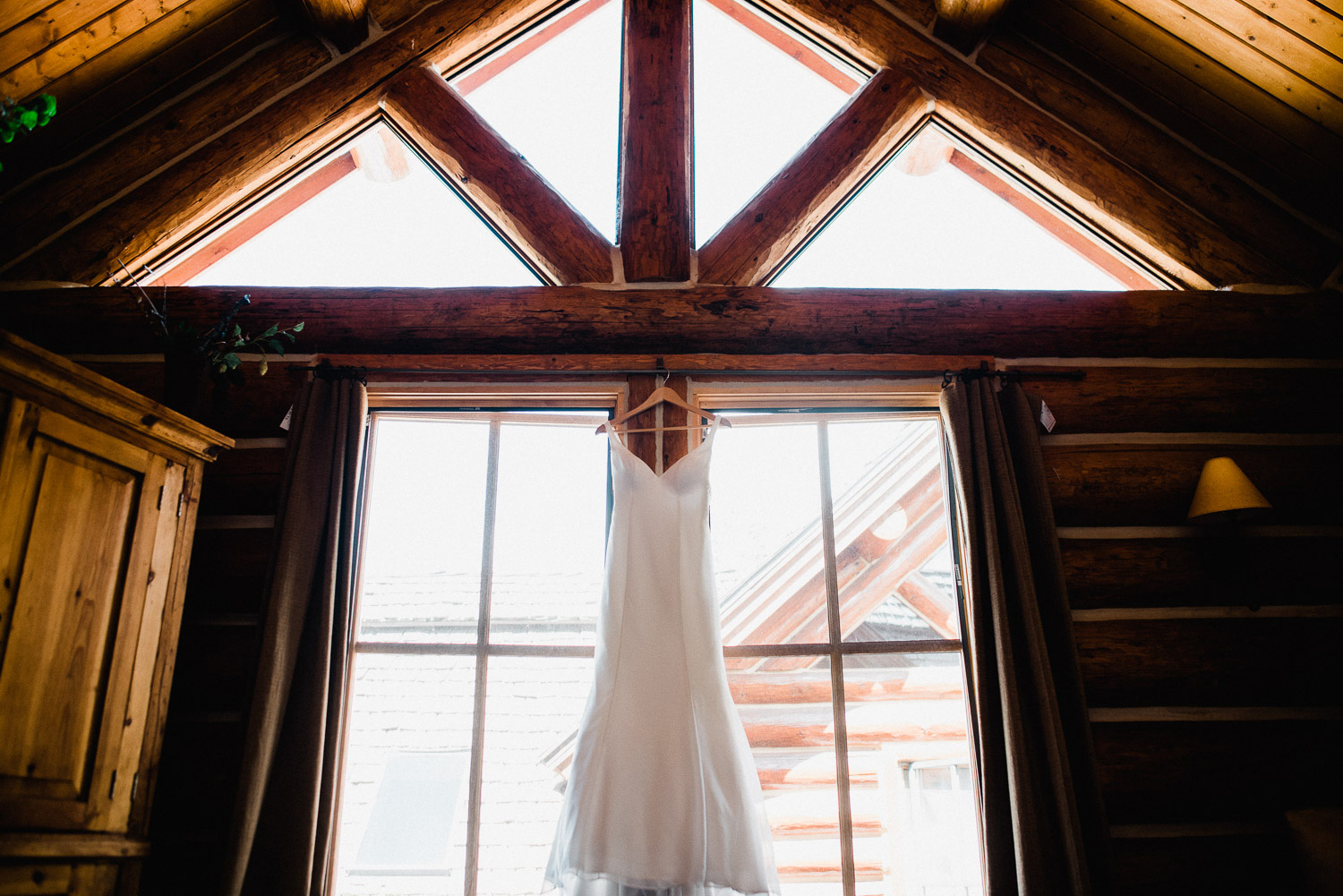 Wedding dress in mountain lodge telluride