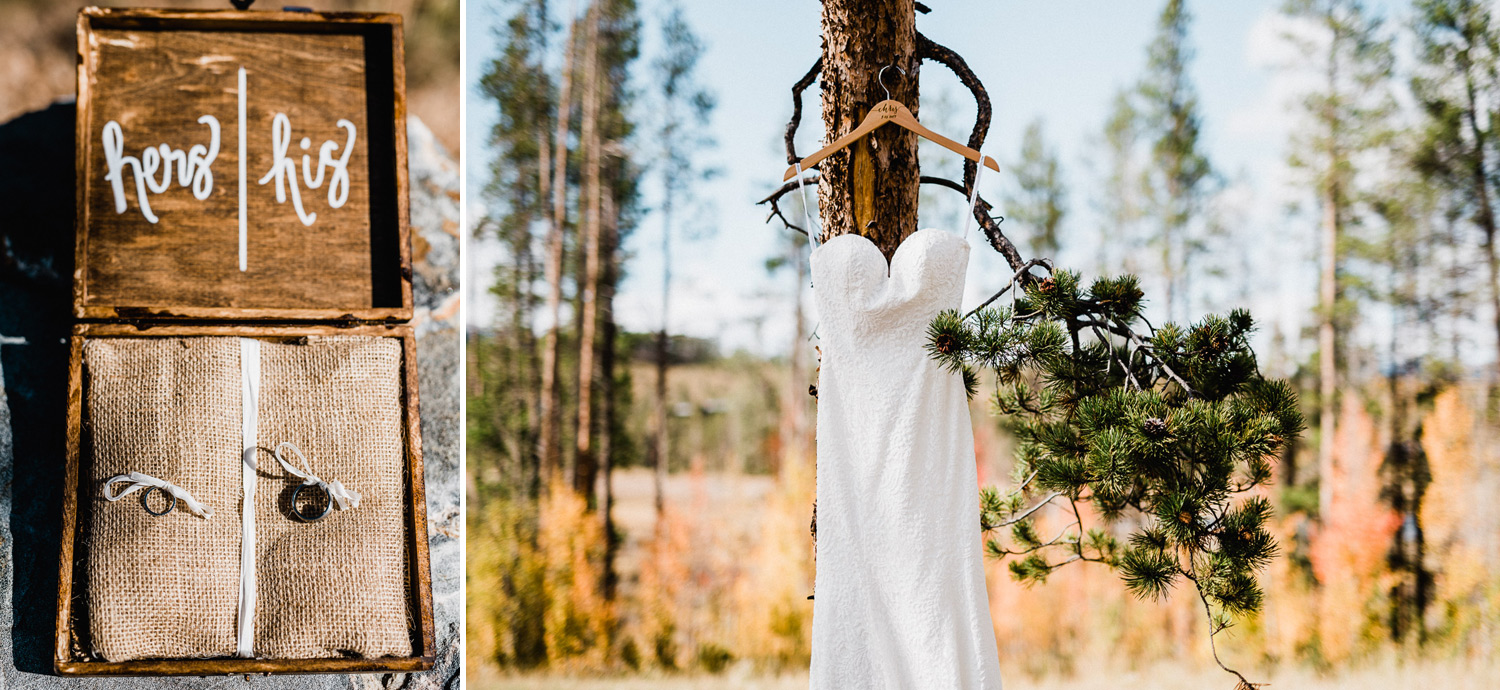 photo of lace wedding gown and wedding rings in tabernash colorado at devil's thumb ranch
