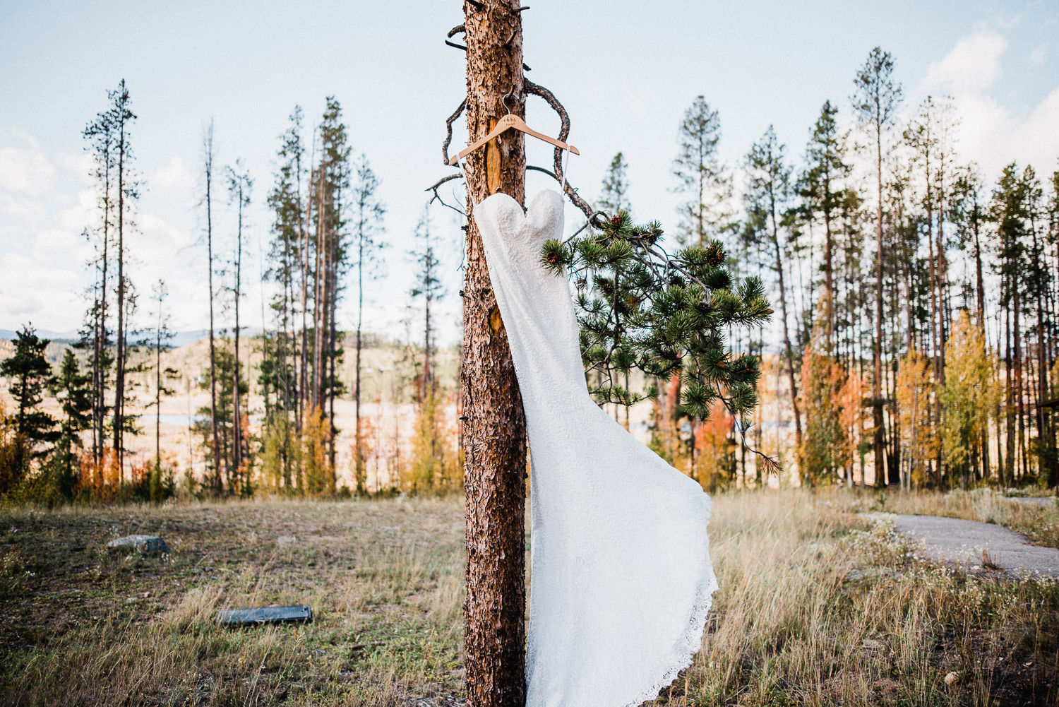 wedding dress blowing in wind