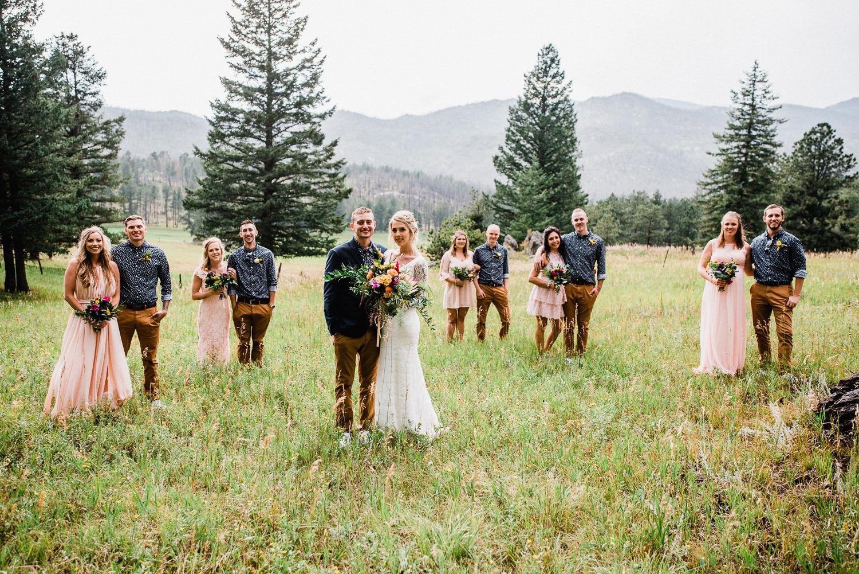 bridal party at stove prairie ranch