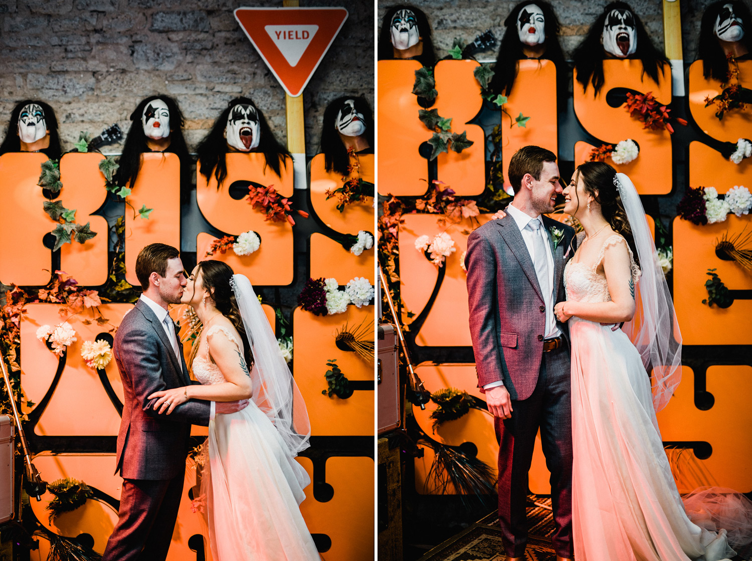 wedding portraits at kiss the sky records in batavia il